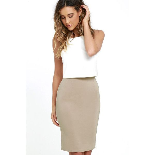 Keep Up Beige Pencil Skirt featuring polyvore, women's fashion ...