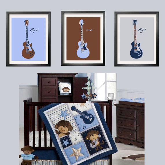 Guitar Prints In Baby Blue Brown Navy And Silver 3 Pc Set 5x7 Looks Great With Carter S Monkey Rockstar Bedding