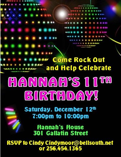 Glow Rave Dance Party Invitations 2 Invitations Party