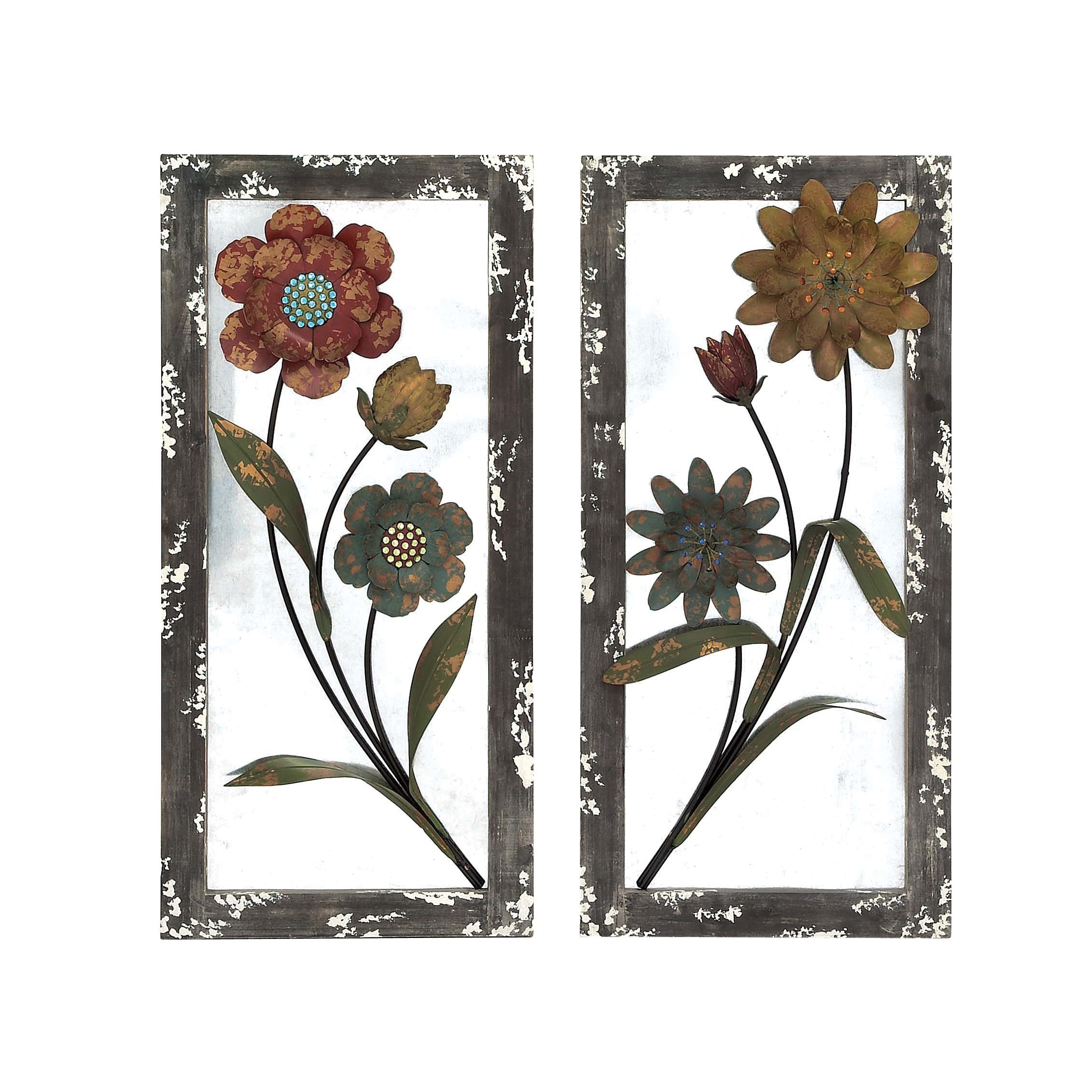 Carved wood multicolor flower inch mirror multi carved wood