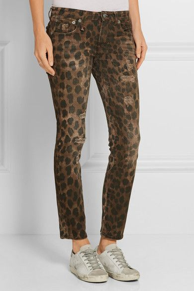 Kate Distressed Leopard-print Low-rise Skinny Jeans - Leopard print R13 Big Discount Online Discount Comfortable Discount Original 8Pz0Zx