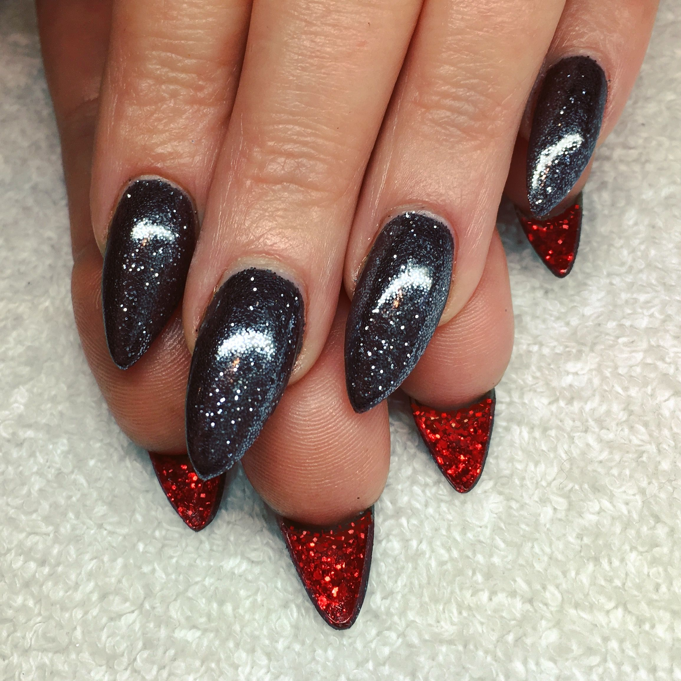 CND Shellac with Lecente Gunmetal and Cardinal MultiGlitz Glitters ...