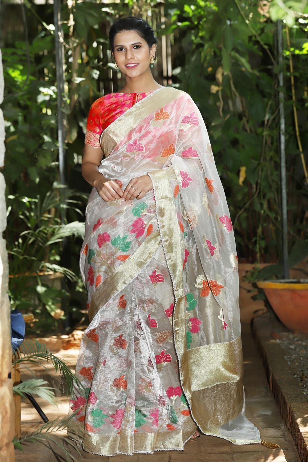 2662e65b30a50 Silver tissue floral saree with gold zari border and pearl bead edging   saree  blouse  houseofblouse  indian  bollywood  style  designer  silver   tissue ...