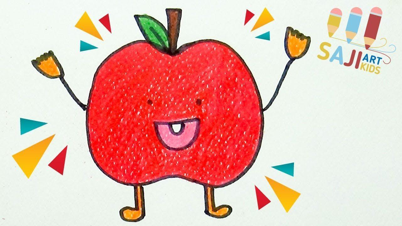 วาดร ประบายส ไม สวยๆ วาดร ปแอปเป ลง ายๆ How To Draw An Apple Step B