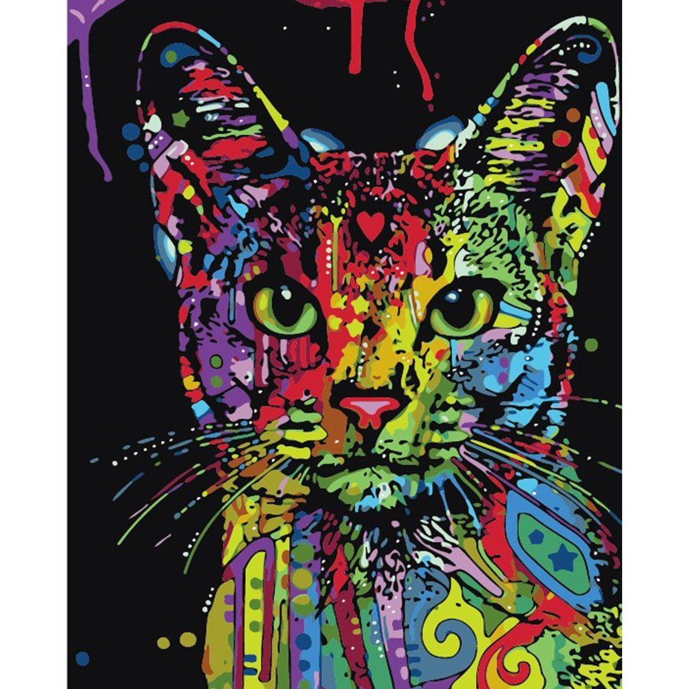 Colorful Cat DIY DIY Paint by Number Kit Framed/ Unframed
