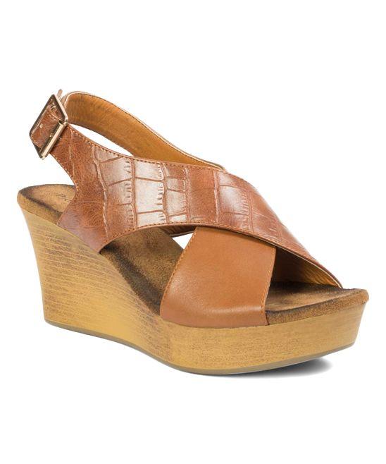 703260311ba4 Tan Croc-Embossed Brooke Wedge Sandal