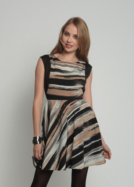 Multi-colored Berkeley Dress has all the right colors for Fall.  Perfect for nude or black tights and simple heels.