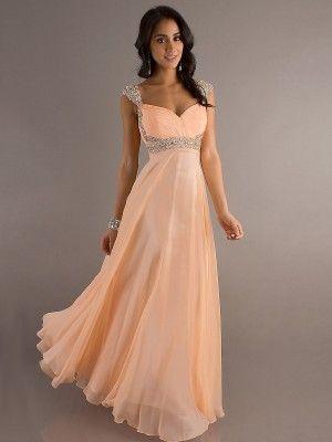 New Style A-line Straps Beading Sleeveless Floor-length Chiffon Prom ...