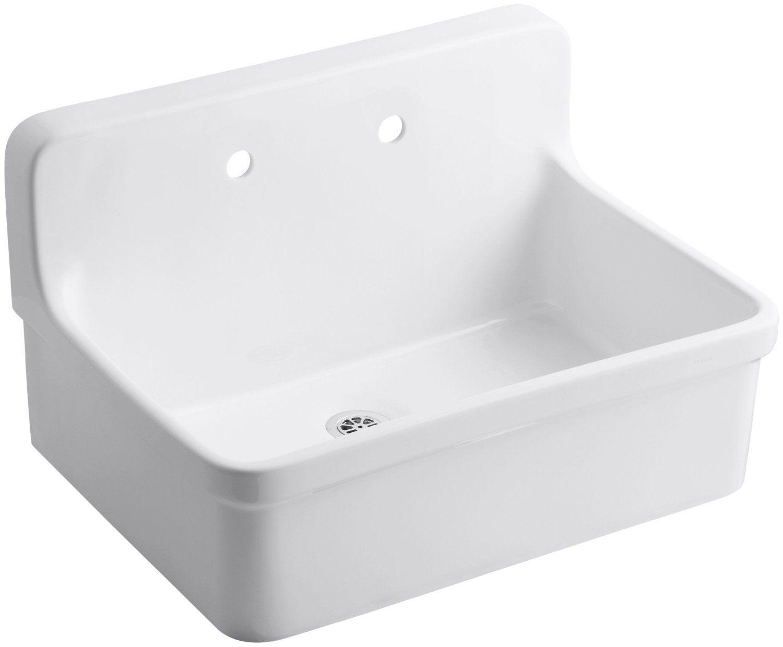 KOHLER K 12787 0 Gilford Scrub Up Plaster Sink, White   Utility
