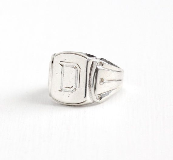 Vintage Sterling Silver Art Deco Letter D Signet Ring - 1930s Size - statement letter
