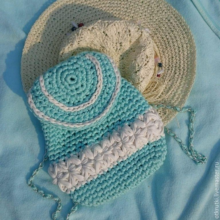 Купить Вязаный рюкзак мятного цвета - мятный, вязаный ...