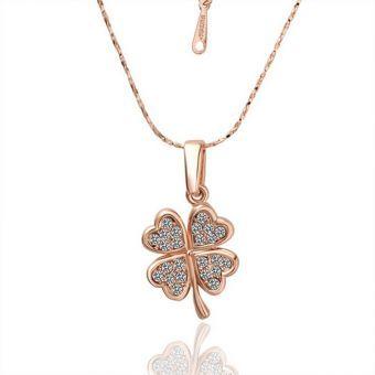 8ba8339722f7 Moda cristal blanco oro rosa chapado Trébol micro pave para collar cadena  para… Compras En