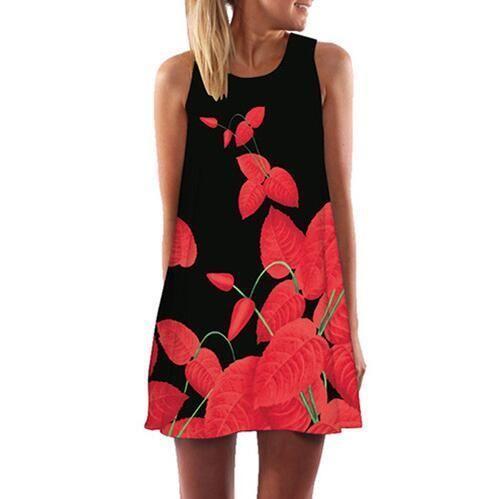 da3e0b9478d Rose Print Sleeveless Summer Dress