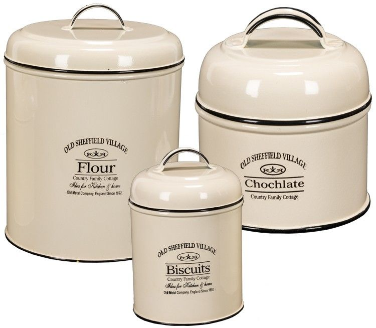 lovely Vintage Looking Canister Sets Part - 4: Vintage Style Enamelware Canisters - Set-3