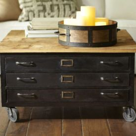 Charming Library Metal Wood Flat File Coffee Table