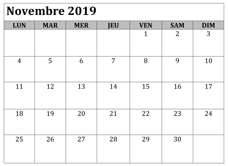 Calendrier A Imprimer Novembre 2019.Word Calendrier Novembre 2019 A Imprimer September