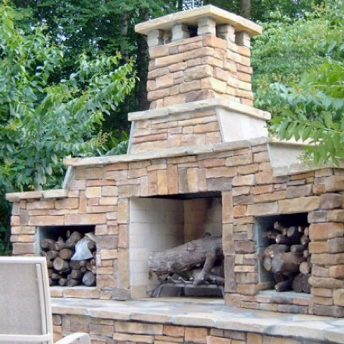 Create Sunken Spots For Wood Storage On Wall Near Fire Pit