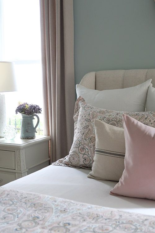 new blush and gray master bedroom for fall  home decor