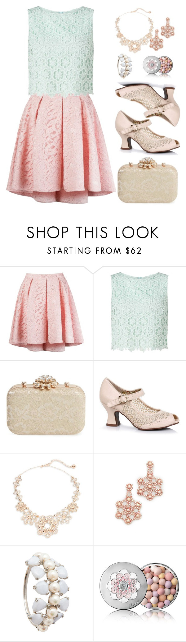 """Pastel Lace"" by majezy ❤ liked on Polyvore featuring Martha Medeiros, Miss Selfridge, Glint, Kate Spade and Guerlain"