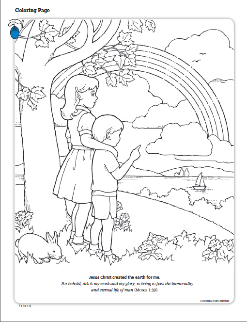 jesus christ created the earth for me lds the friend magazine coloring page - Coloring Pages Primary Lessons