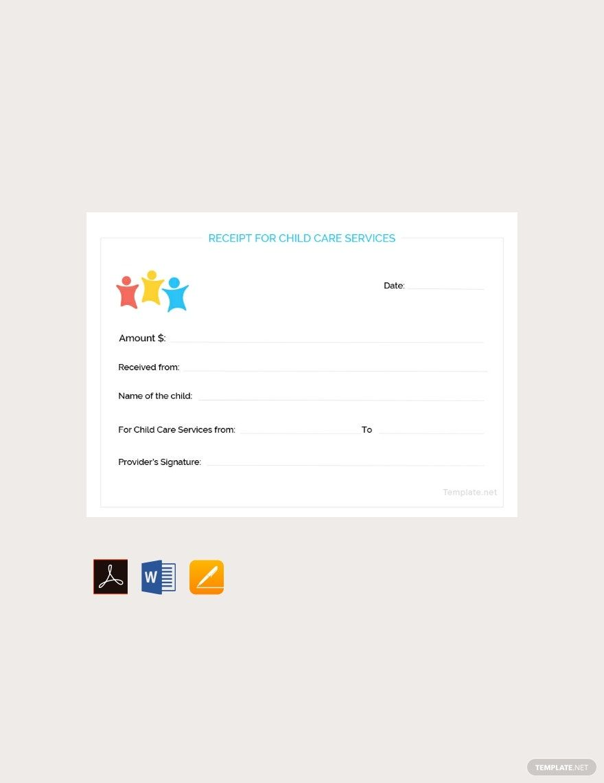 Free Child Care Services Receipt Template In 2020 Child Care Services Receipt Template Free Child Care