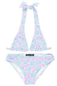 Seashells in Light Blue on Pink Classic Bikini for Girls
