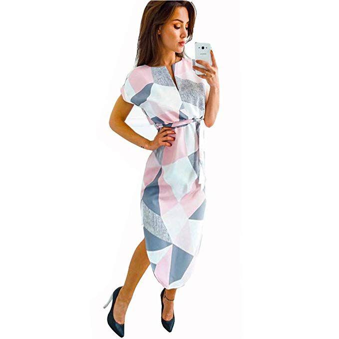 134203e9b759a LitBud Womens Midi Dresses Summer V-Neck Short Sleeve Casual Office  Geometric Belted Dress at