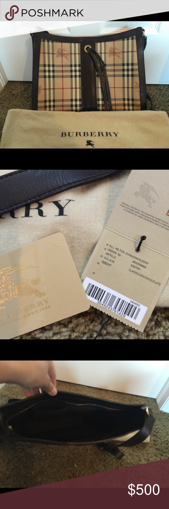 Burberry Haymarket Milton Bag Burberry Milton bag, with long strap that can be worn Crossbody.  It's only been used a few times and is in perfect condition.  It comes with the dustbag and original tag. Burberry Bags Crossbody Bags
