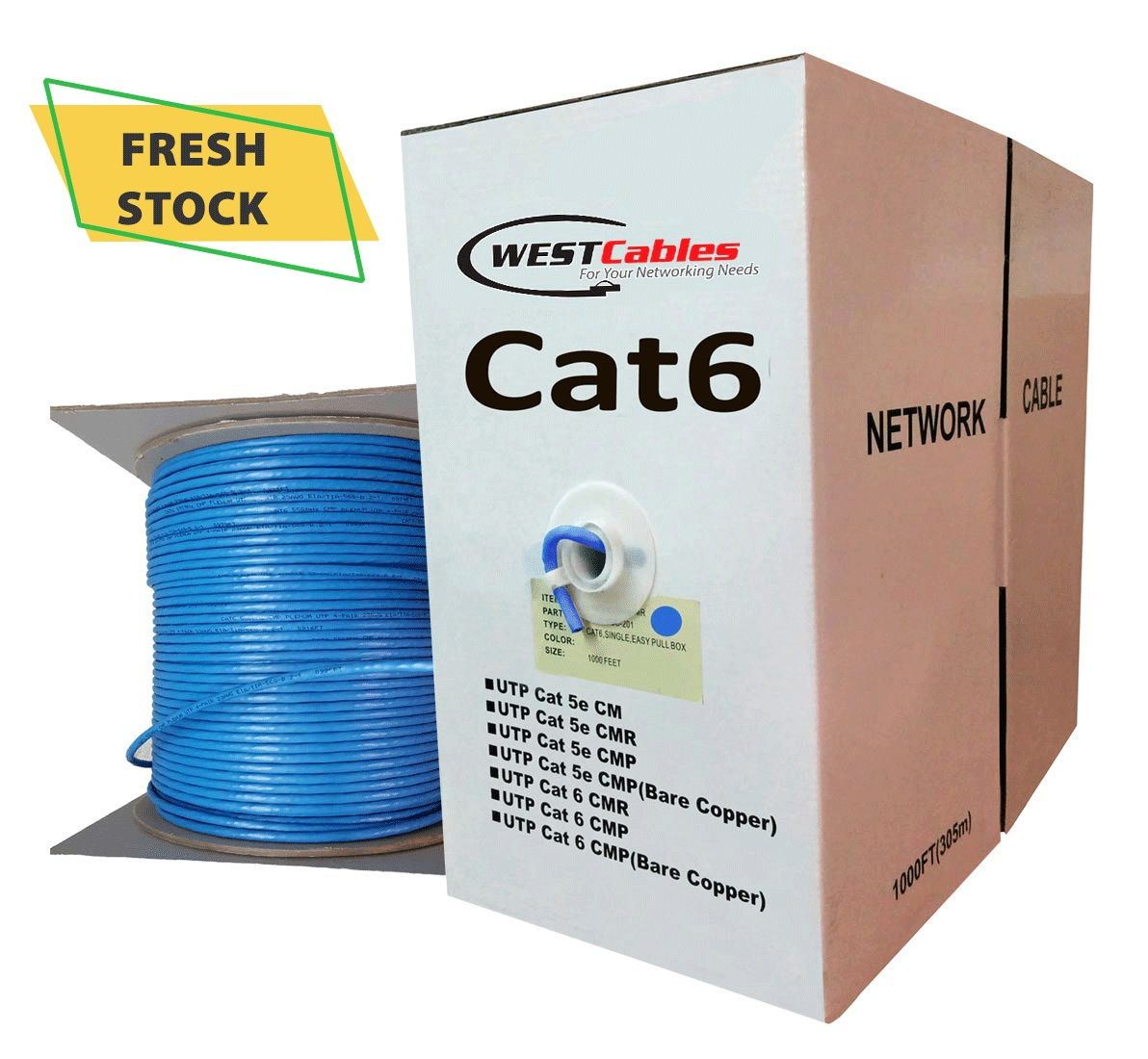 Cat6 Plenum 1000ft Networking Cable Plenum Rated Jacket Indoor Outdoor Cable Networking Cables Network Cable Ethernet Cable