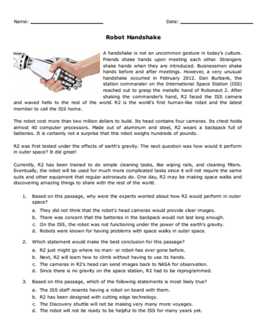 Free Robot Handshake Reading Comprehension Passage Gear Up For