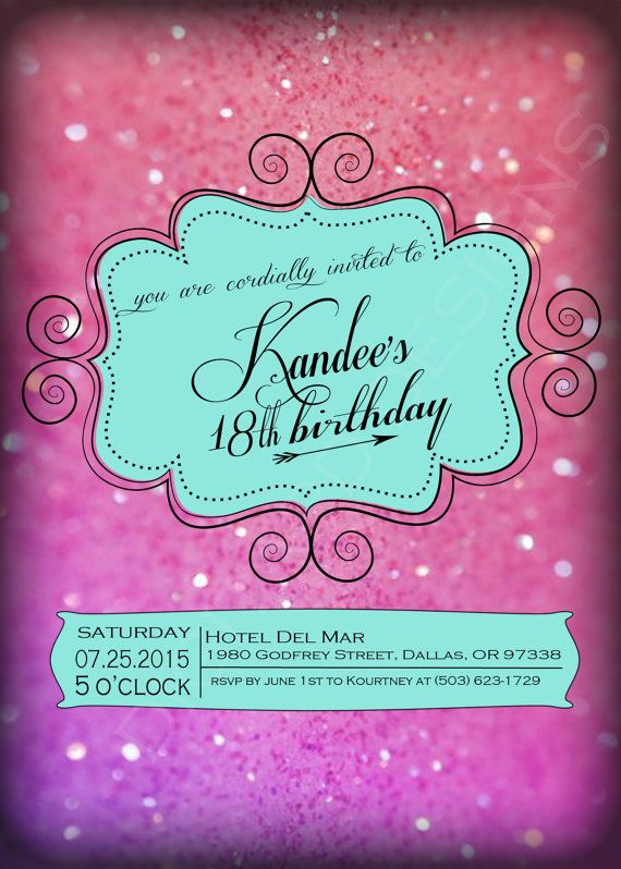 Cute modern mint and pink glittery background teen girls - birthday invitation backgrounds