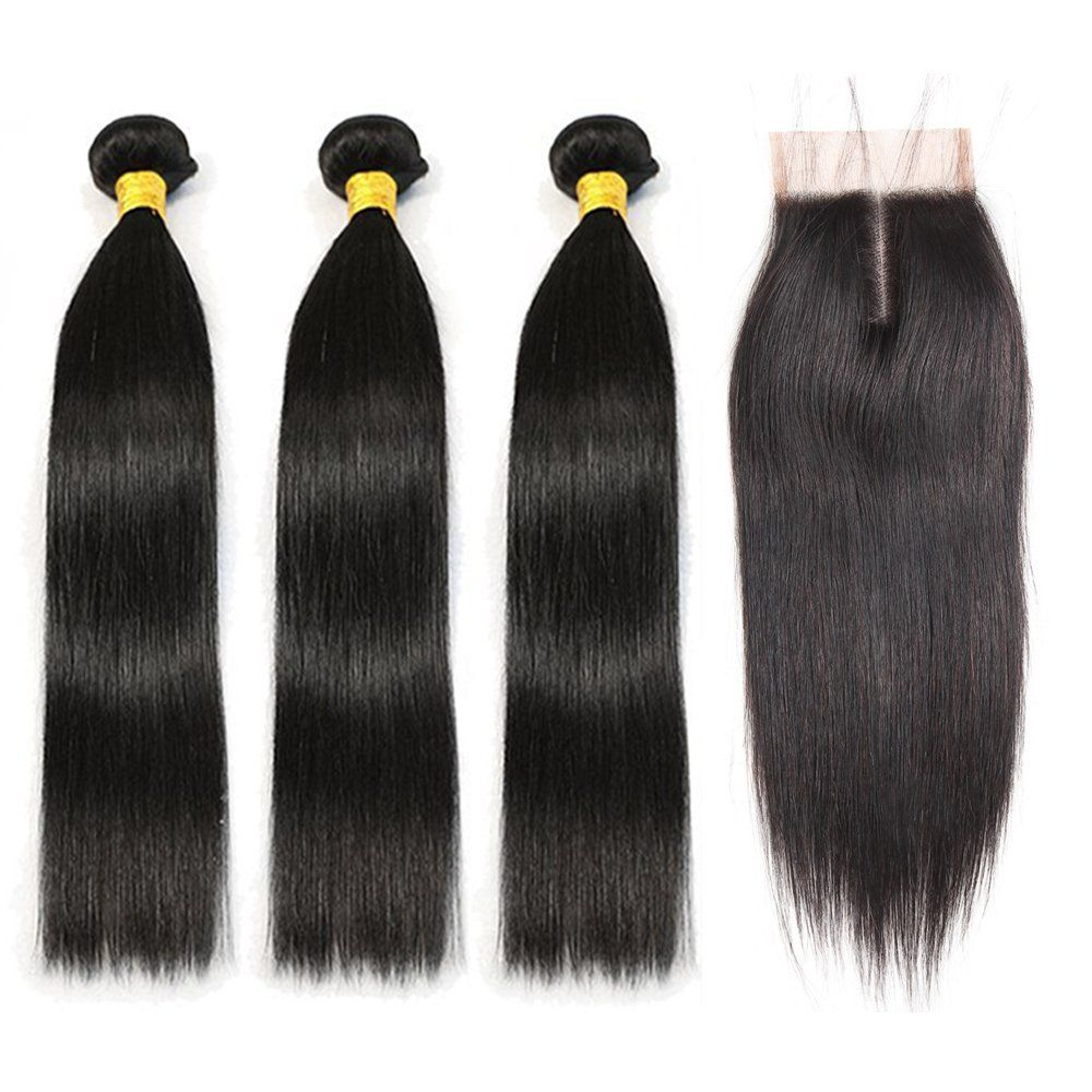 brazilian hair 3 bundles straight with lace front middle
