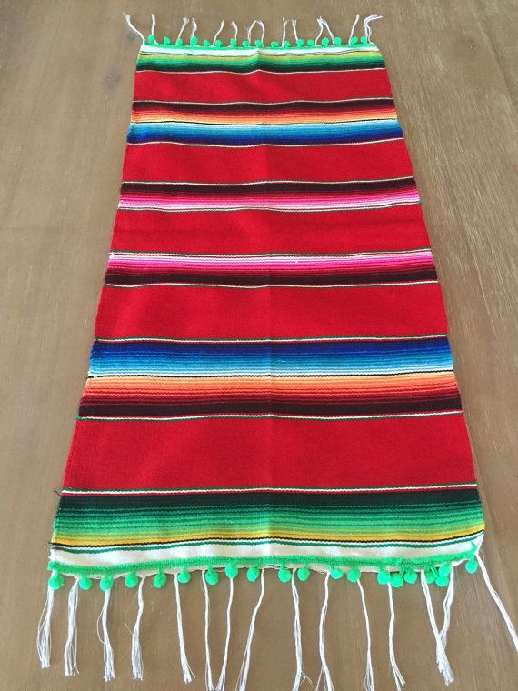 Mexican Serape Table Runner Super Cute For Your Next Fiesta Southwestern Blanket Handmade