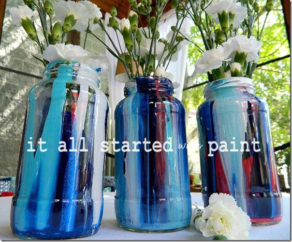 anthro-inspired paint drip mason jars #anthro