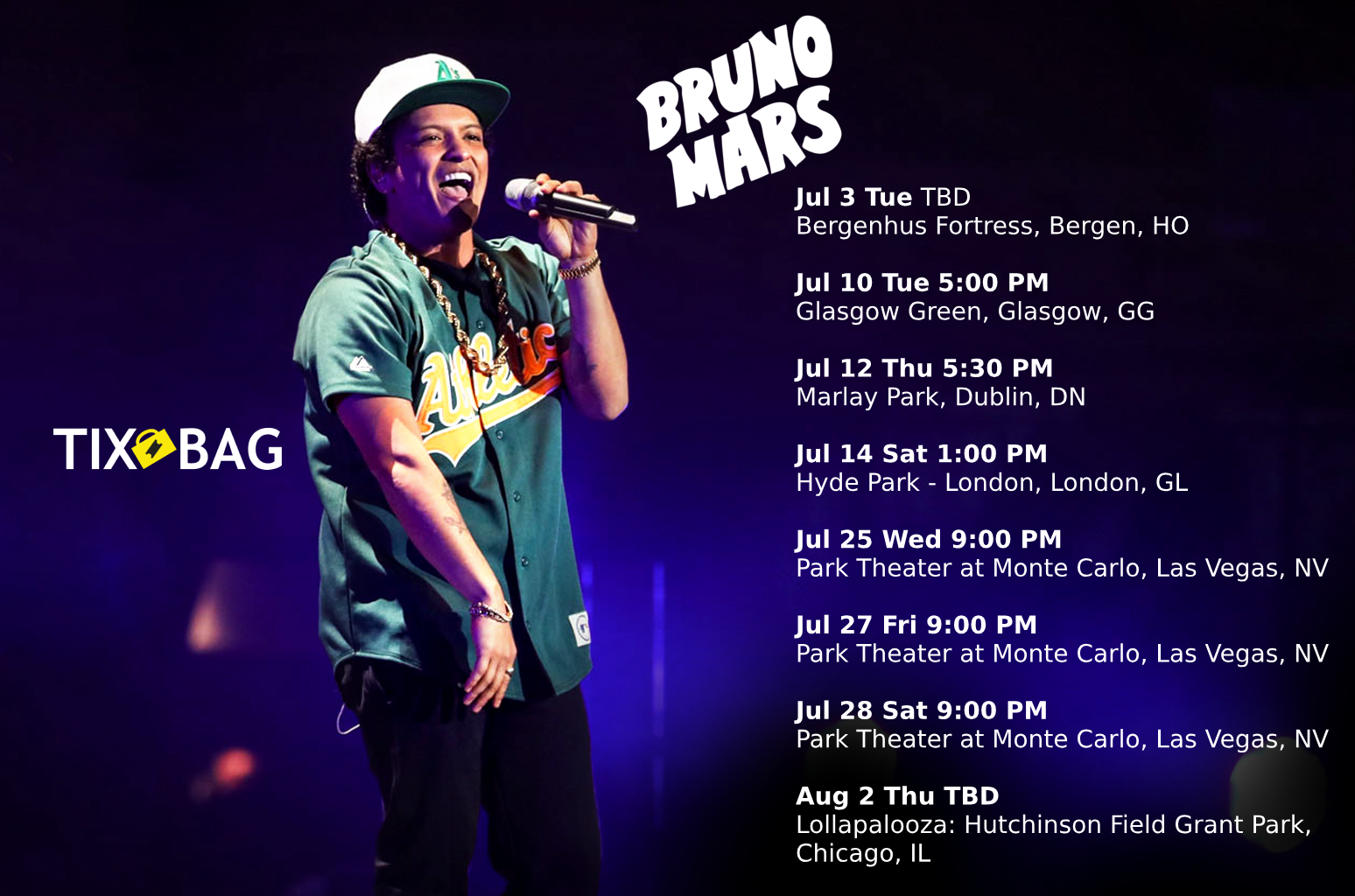 Bruno Mars Upcoming Tour Dates  List of all Bruno Mars