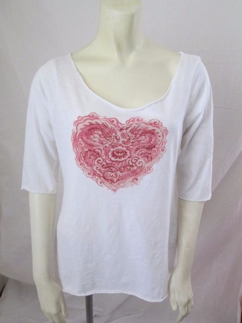 Lucky Brand Tees White 100% Cotton Floral Heart Casual Top L #LuckyBrand #KnitTop #Casual