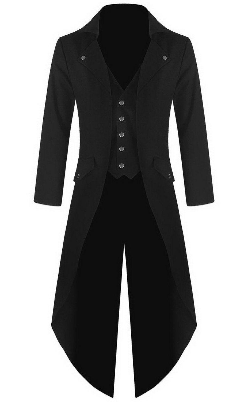 Mens Gothic Tailcoat Jacket Black Steampunk VTG Victorian Coat (L ... a0e6c472a9e