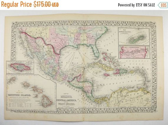 Map Of America Hawaii And Mexico.1871 Mitchell Map Of Mexico Central America Caribbean And