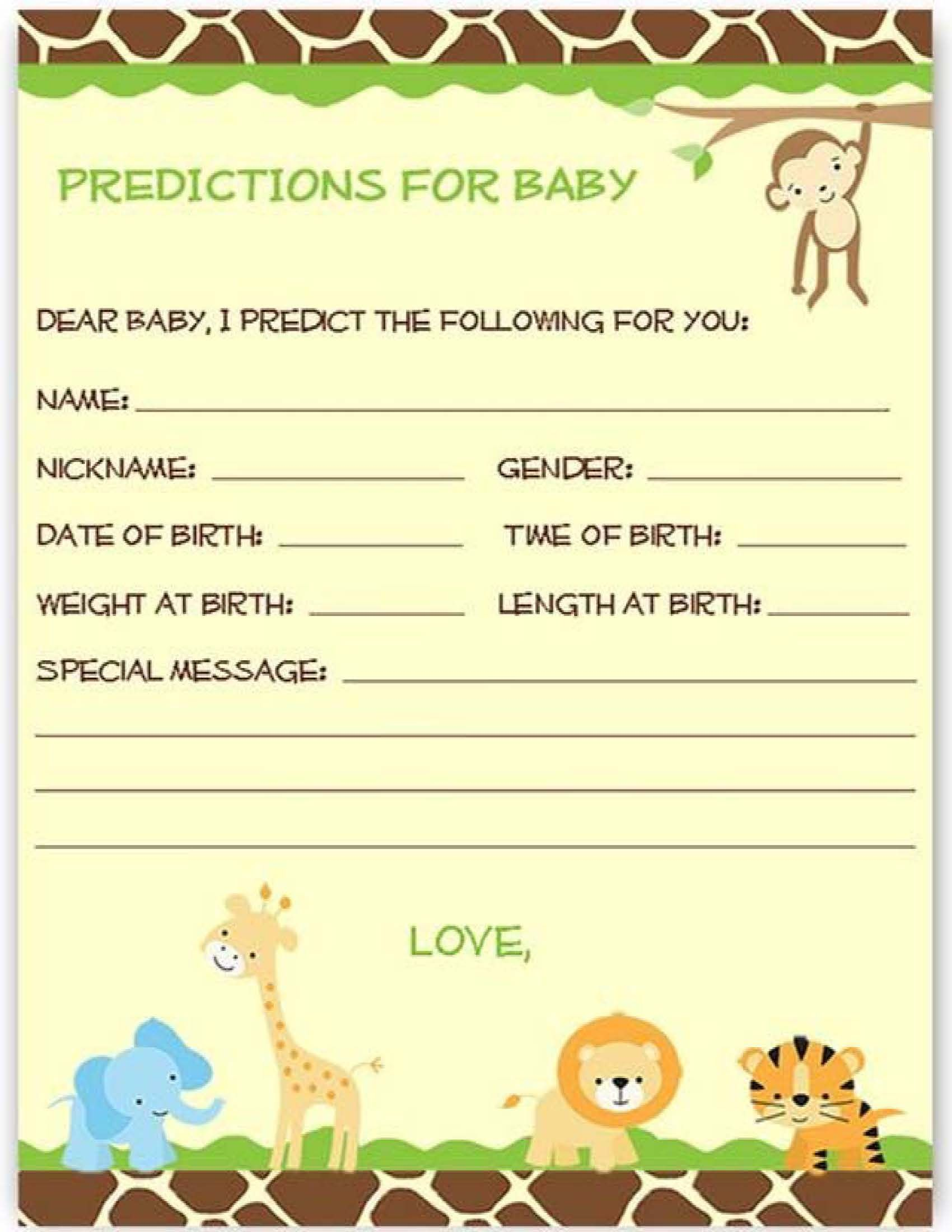 Prediction For The Baby Little Lion Theme Baby Shower Game Aman