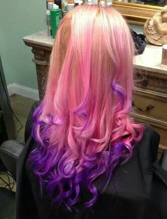 Blonde Pink Purple Ombre Pink Purple Ombre Blonde With Pink Hair Styles