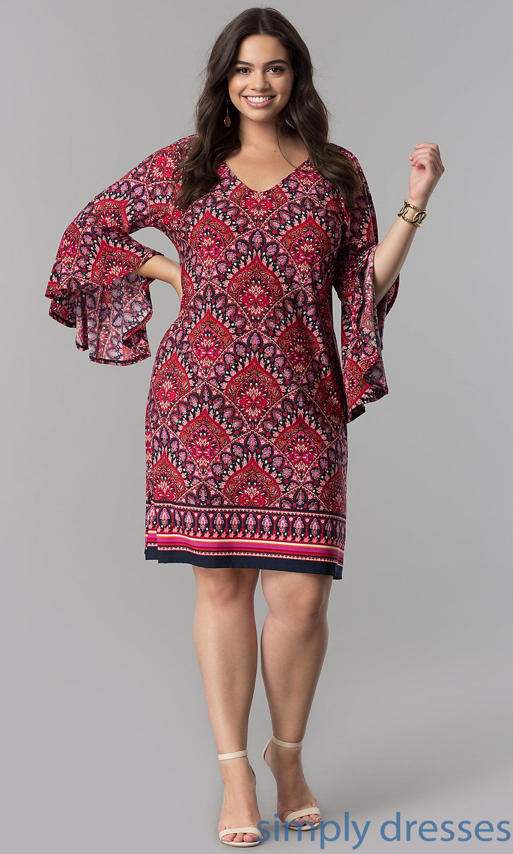 Short V Neck 3 4 Sleeve Casual Party Dress Casual Party Dresses Plus Size Dress Outfits Casual Cocktail Dress [ 1666 x 1000 Pixel ]
