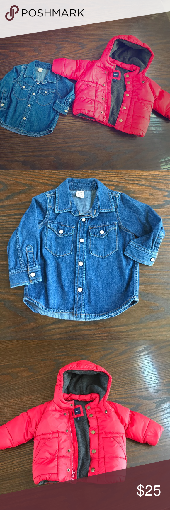 179ee292e161 Baby GAP Boys Jacket and Denim Shirt 12-18 Months Red Puff Jacket ...
