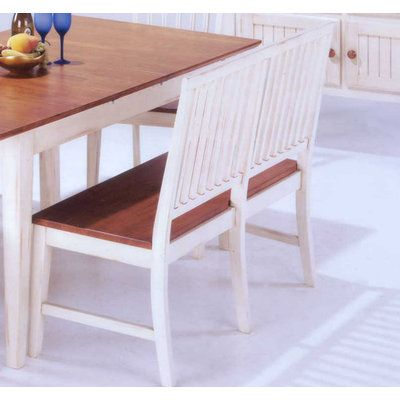 Jofran Antique White Mission Bench in Toffee Brown