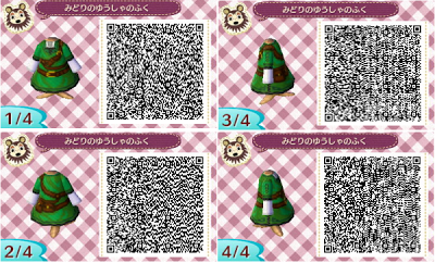 Link Zelda Outfit Qr Code For Animal Crossing New Leaf Animal