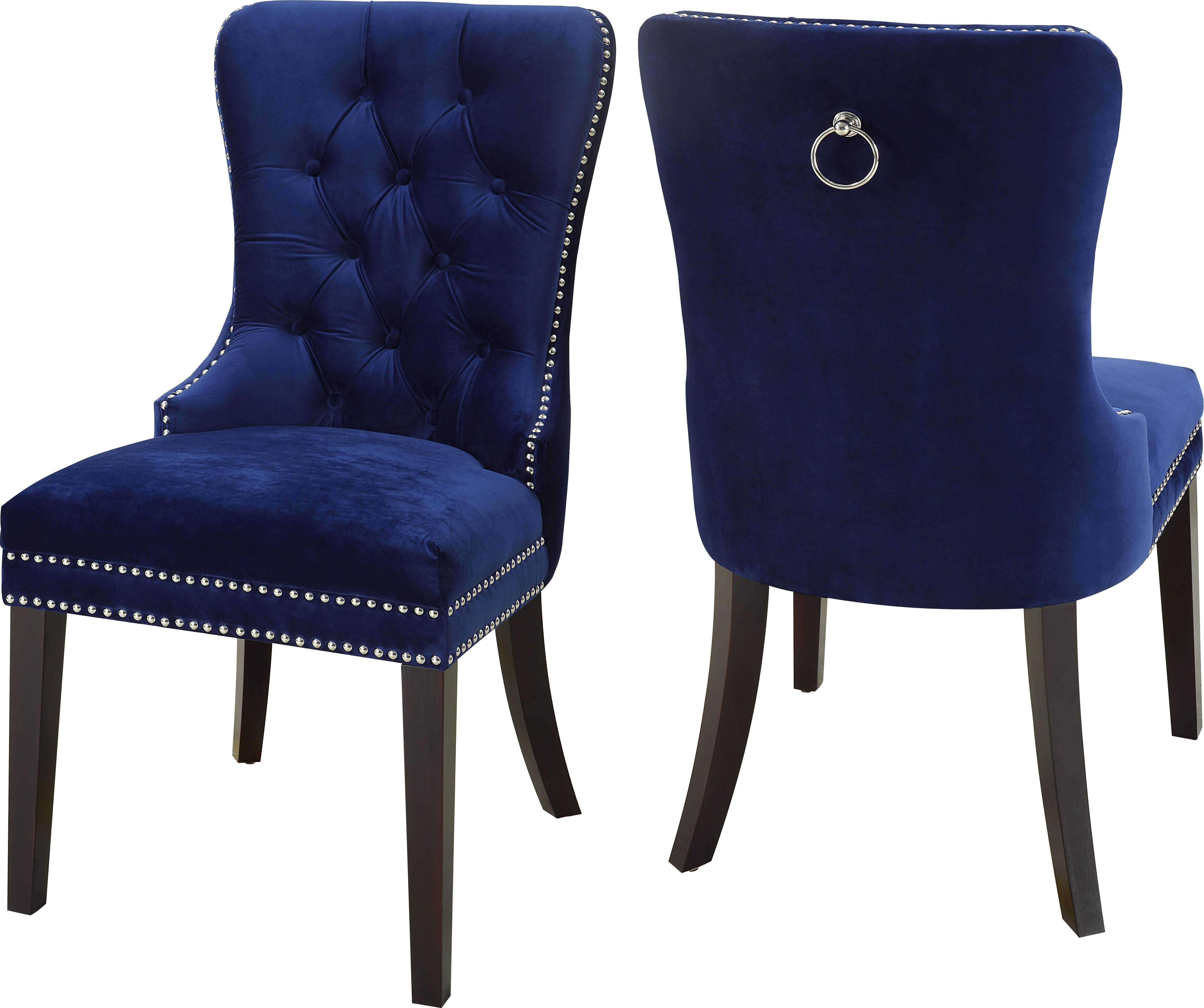 Meridian Nikki Navy Velvet Dining Chair Set Of 2 Reviews