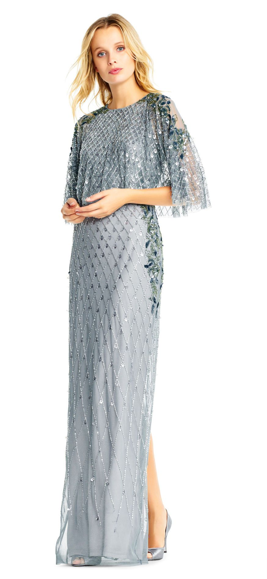 Adrianna Papell | Sequin Beaded Dress with Popover Cape Bodice | My ...