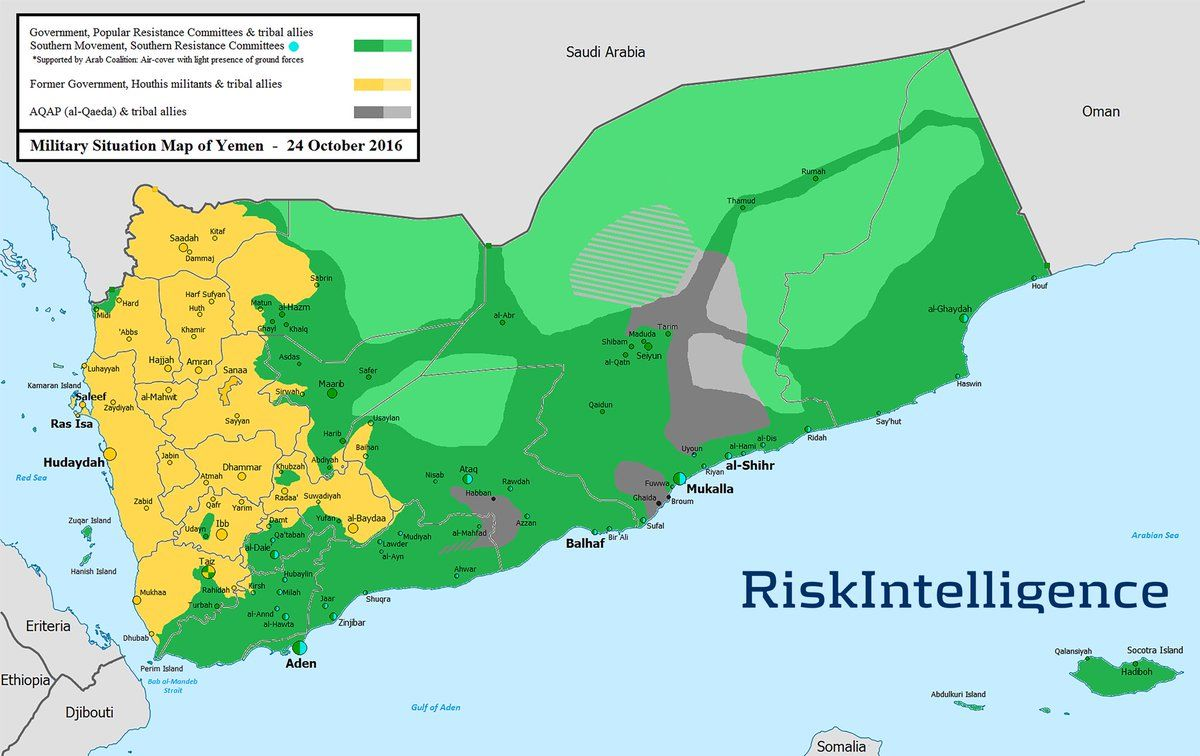 Yemen map: last week\'s territorial changes only at borders (Jawf ...