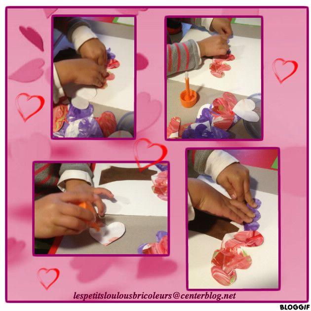 Coeurs découpés dans des peintures