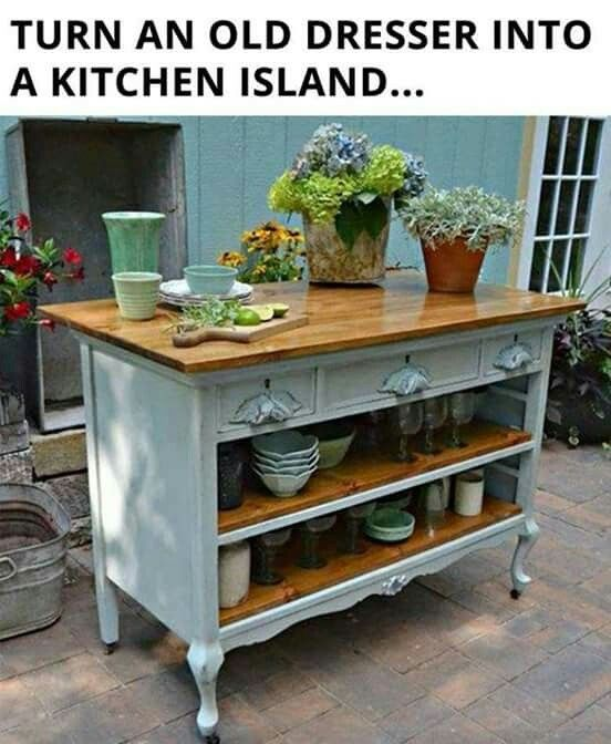 Upcycle Furniture. Dresser Into A Kitchen Island.