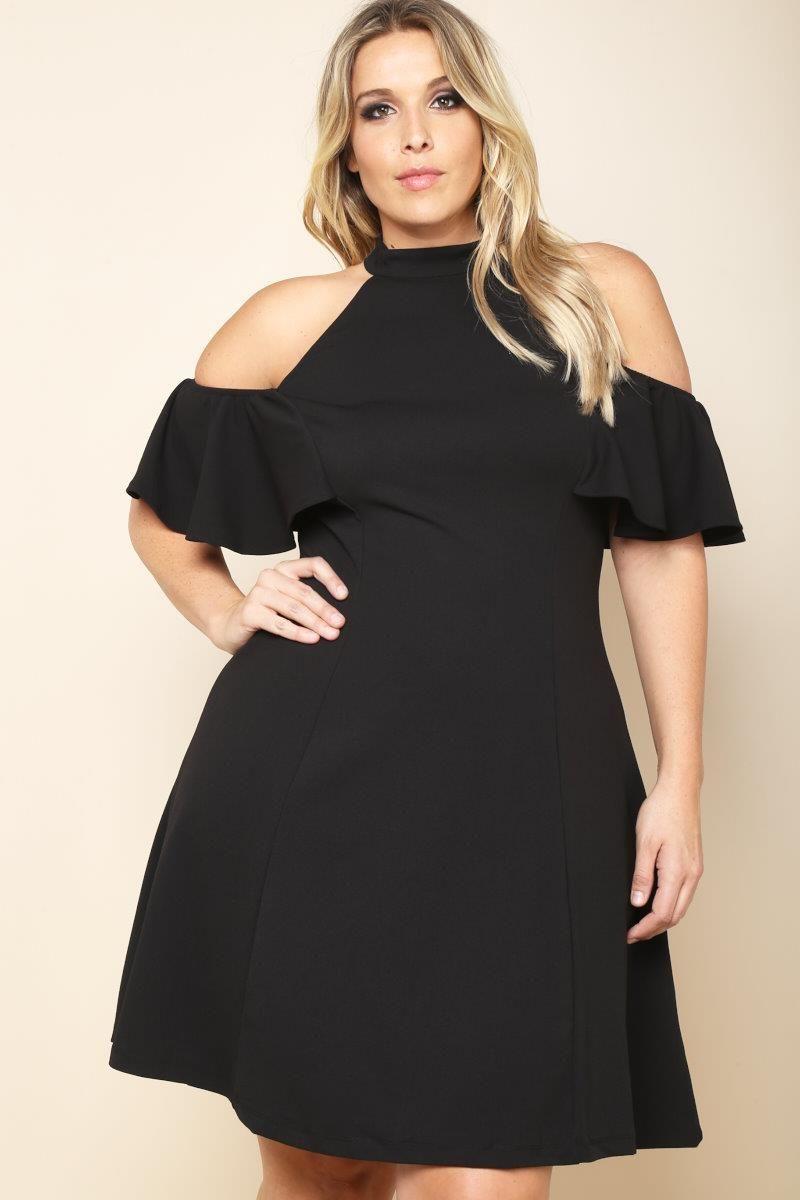Plus Size High Neck Cold Shoulder Dress Dresses+ GS-LOVE | Next ...